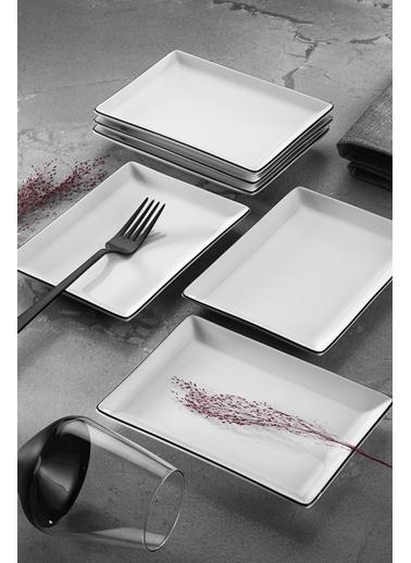 Porland Porland Modern Siyah Fileli 18 Parça Yemek ve Sunum Takımı Siyah